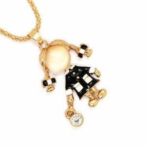 Jewelry - Ponytail Girl Enamel Pendant Sweater Necklace Long
